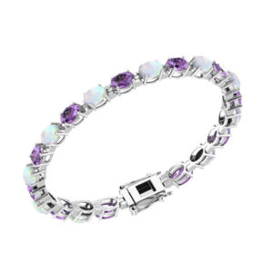 Alternating Stone Tennis Bracelet with 6x4mm Oval-shaped Natural Amethyst and Opal