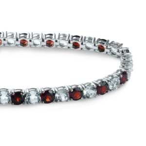 Tennis bracelet with round-shaped alternating Red Garnet and White Topaz stones