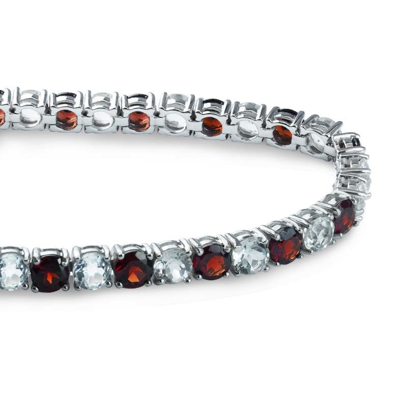 Tennis bracelet with round-shaped alternating Red Garnet and White Topaz stones