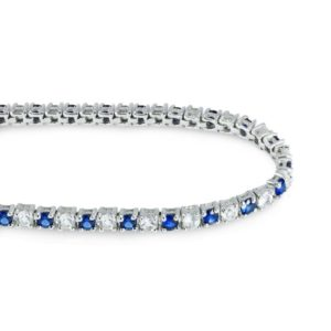 Alternate stone Tennis bracelet with 3mm round Blue Sapphires and White Topaz RSB0023-3mm(RD)-Created blue sapphire and white topaz rsb 0023
