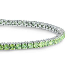 Round Cushion cut 3mm Peridot bracelet for Women RSR 0026