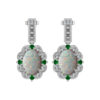 Fall in love with beautiful Created Opal, Diamonds and Chrome Diopside earrings
