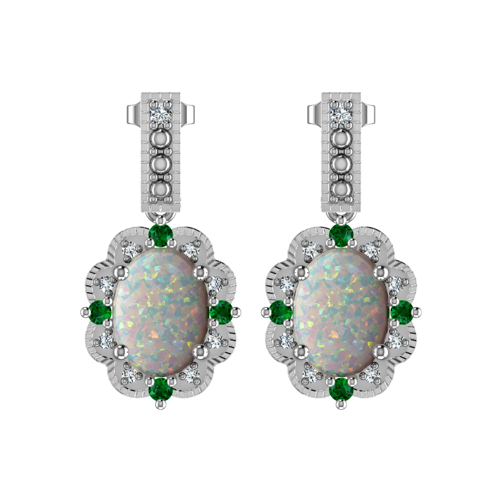 Fall In Love With Beautiful Created Opal Diamonds And Chrome Diopside Earrings