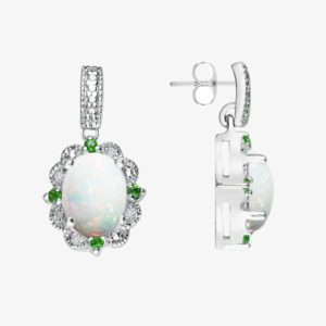 Fall in love with beautiful Created Opal, Diamonds and Chrome Diopside earrings RSE-0161-T