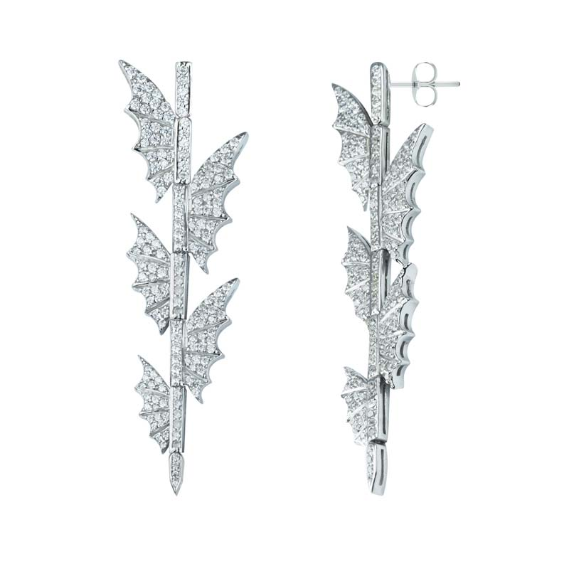 Lovely butterfly drop earrings in Sterling set with White Cubic Zirconia