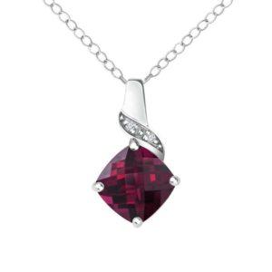 Cushion cut Created Ruby and Diamonds pendant