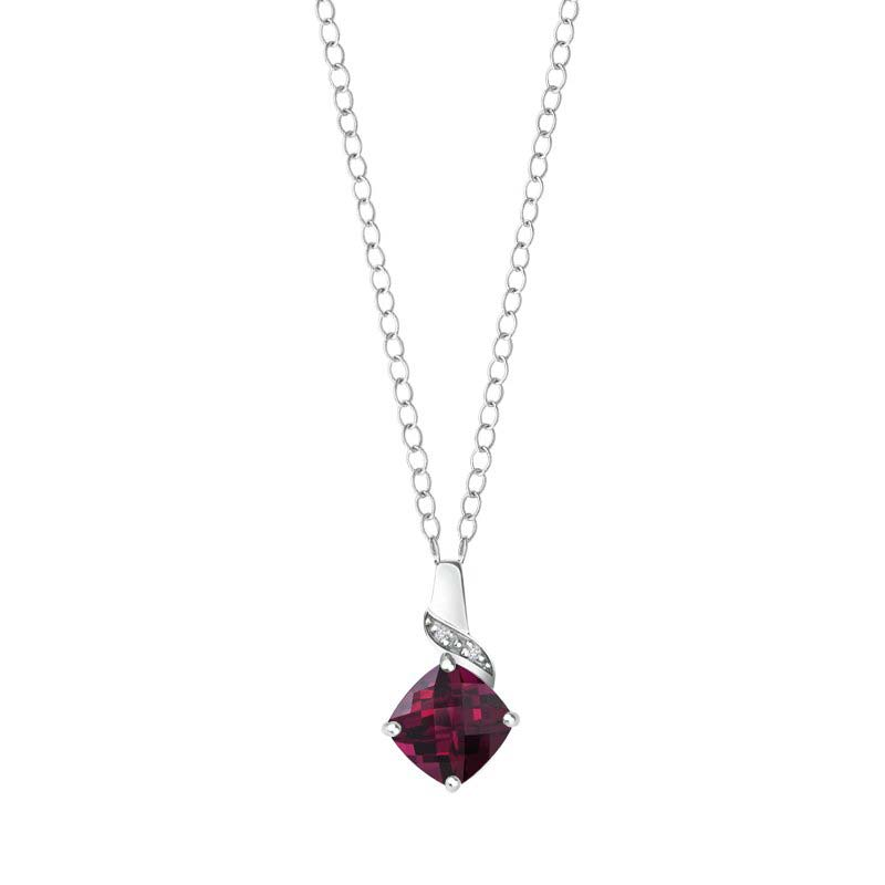 Cushion cut Created Ruby and Diamonds pendant RSP-0144