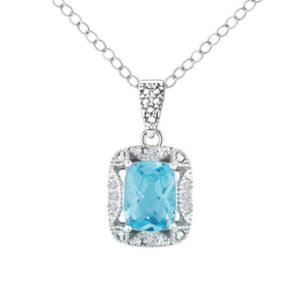 Cushion cut Swiss Blue Topaz pendant with Diamond RSP-0152