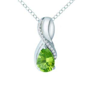Women's pendant with Peridot and Created White Sapphire RSP-0319-1