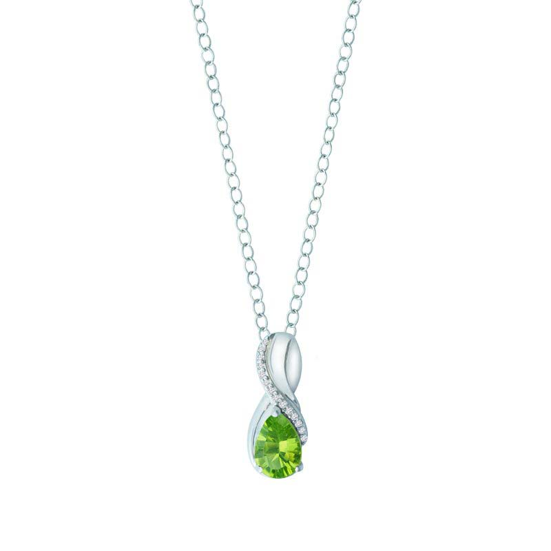 Women's pendant with Peridot and Created White Sapphire