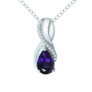 Women's pendant with Amethyst and White Sapphire RSP-0319-2