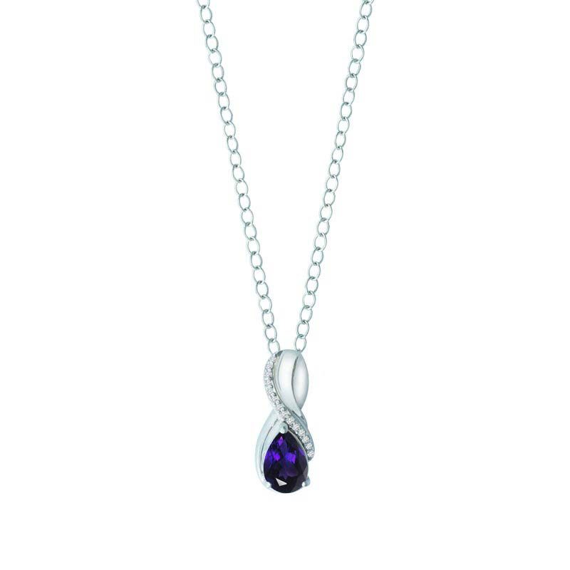 Women's pendant with Amethyst and White Sapphire