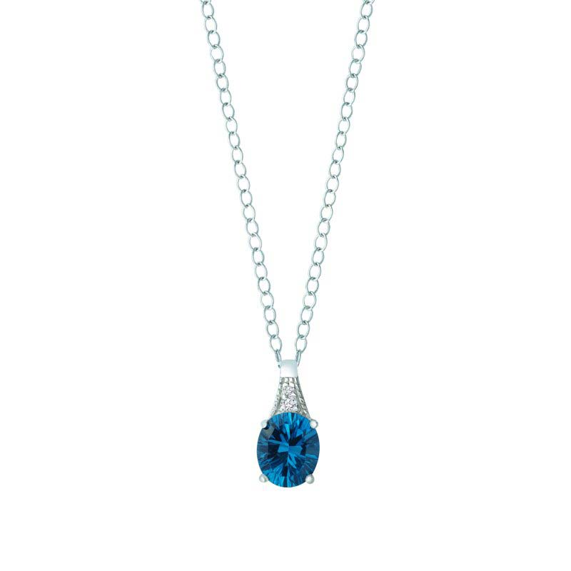 Round cut Swiss BlueTopaz and London Blue Topaz pendant
