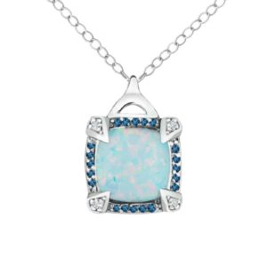 Three-stone pendant with Created Opal, London Blue Topaz and Diamonds
