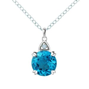 Round cut Swiss Blue Topaz and Sky Blue Topaz pendant