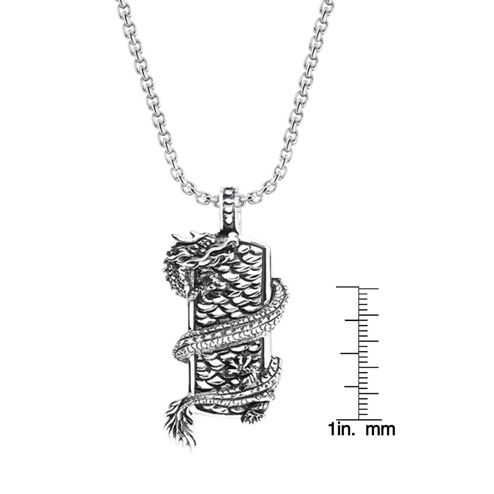 Sterling silver necklace with dragon and shield mens biker necklace 925 sterling silver mens pendant with dragon wrapped on shield rsp 0384 aloadofball Image collections