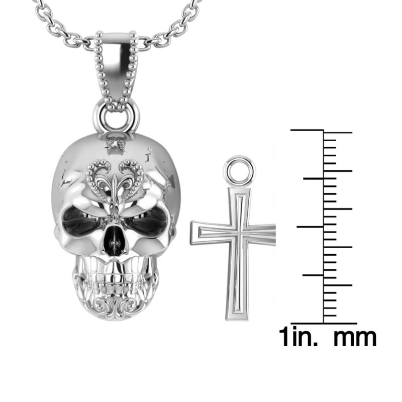 925 Sterling Silver Three-dimensional skull and cross pendant for Men RSP-0386-T