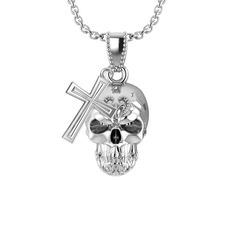 925 Sterling Silver Three-dimensional skull and cross pendant for Men RSP-0386