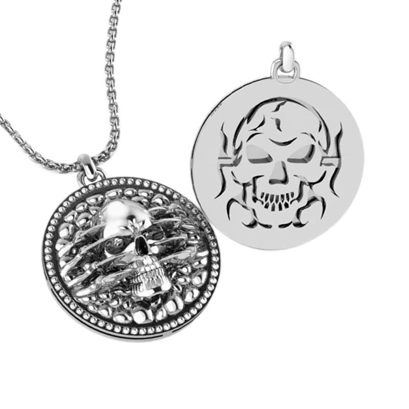 .925 Sterling Silver extremely detailed and artistic skull pendant for men RSP-0387