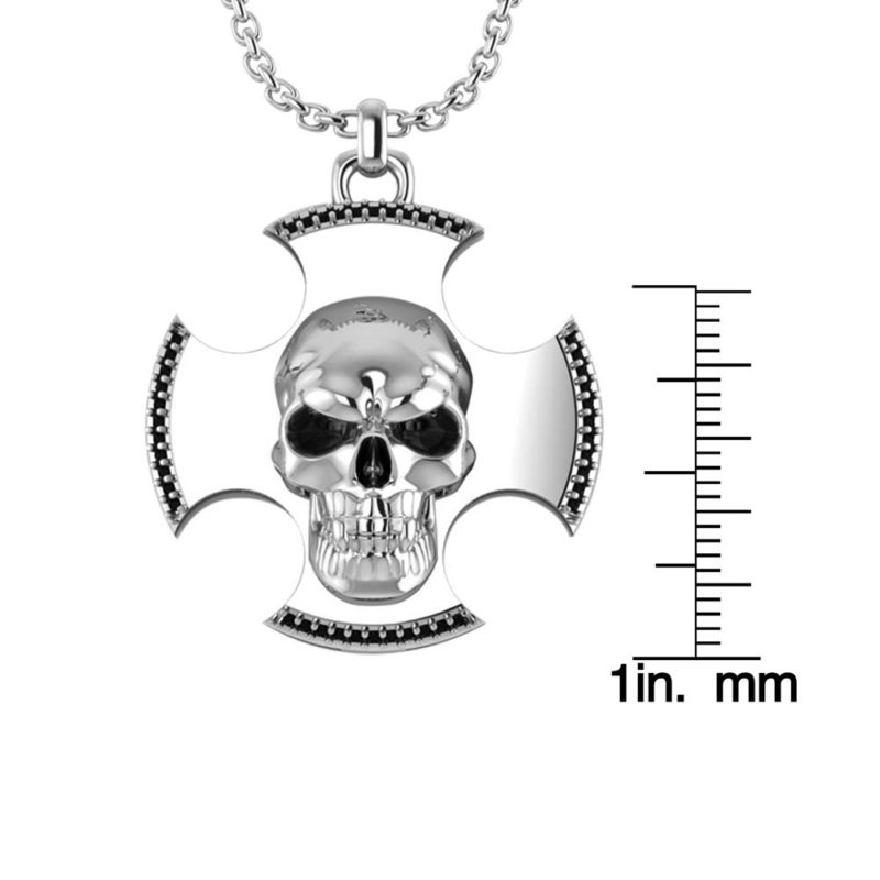 Three-dimensional skull cross pendant for men RSP-0389