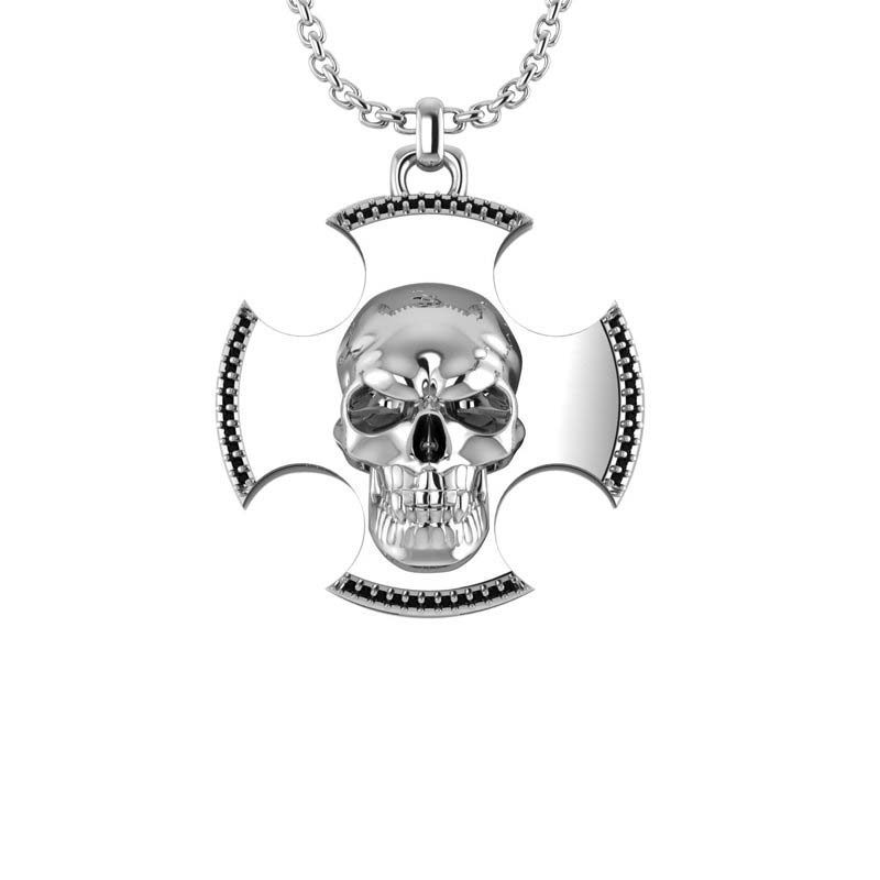 Three-dimensional skull cross pendant for men
