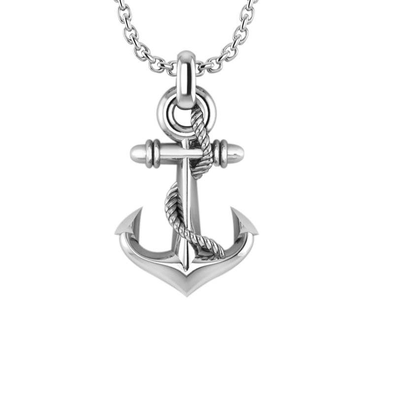 Sterling silver anchor necklace mens anchor pendant three dimensional mens anchor necklace in 925 sterling silver aloadofball Images