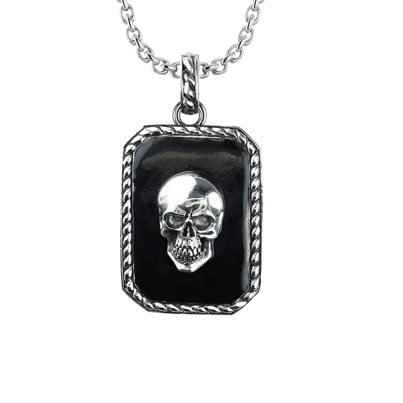 Skull Necklace with Border Detail Sterling Silver Biker Jewelry