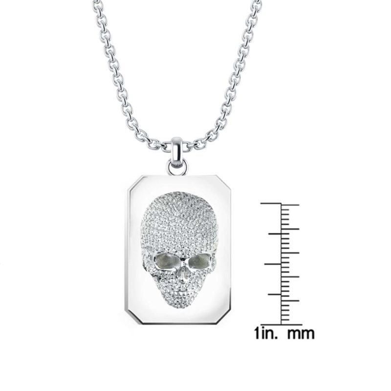 Three-dimensional skull Necklace set with White CZ RSP-0394