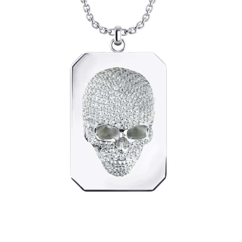 Three-dimensional skull Necklace set with White CZ