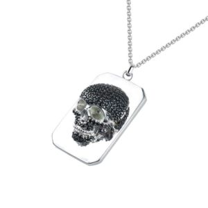 Black Cubic Zirconia Skull Necklace