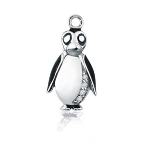Adorable little penguin charm necklace or bracelet in .925