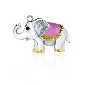 Cute Elephant Charm with purple and gold blanket on back
