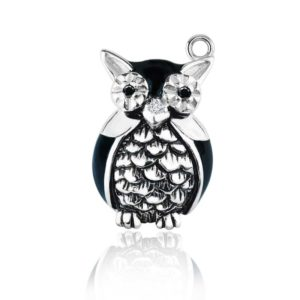 Wise old Owl charm with eyes in CZ and detailed feathers