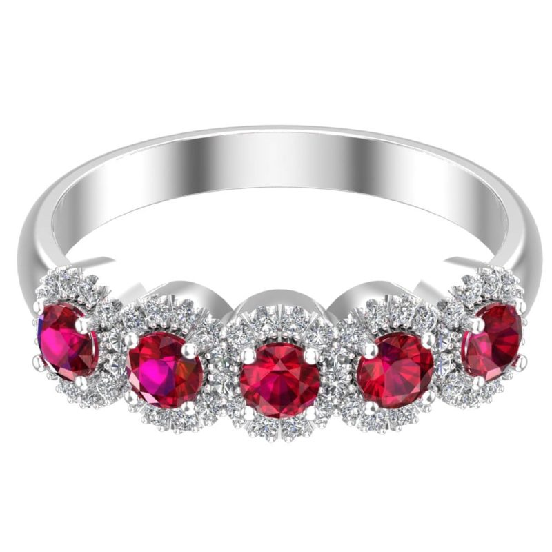 Stunning love ring with Rubies surrounded by sparkling Cubic Zirconia rsr 0326