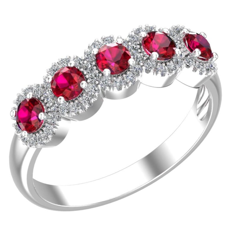 Stunning love ring with Rubies surrounded by sparkling Cubic Zirconia