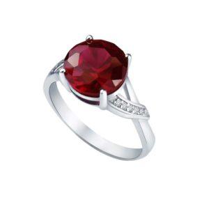 Gorgeous ring with Created Ruby as center stone and Diamonds on side