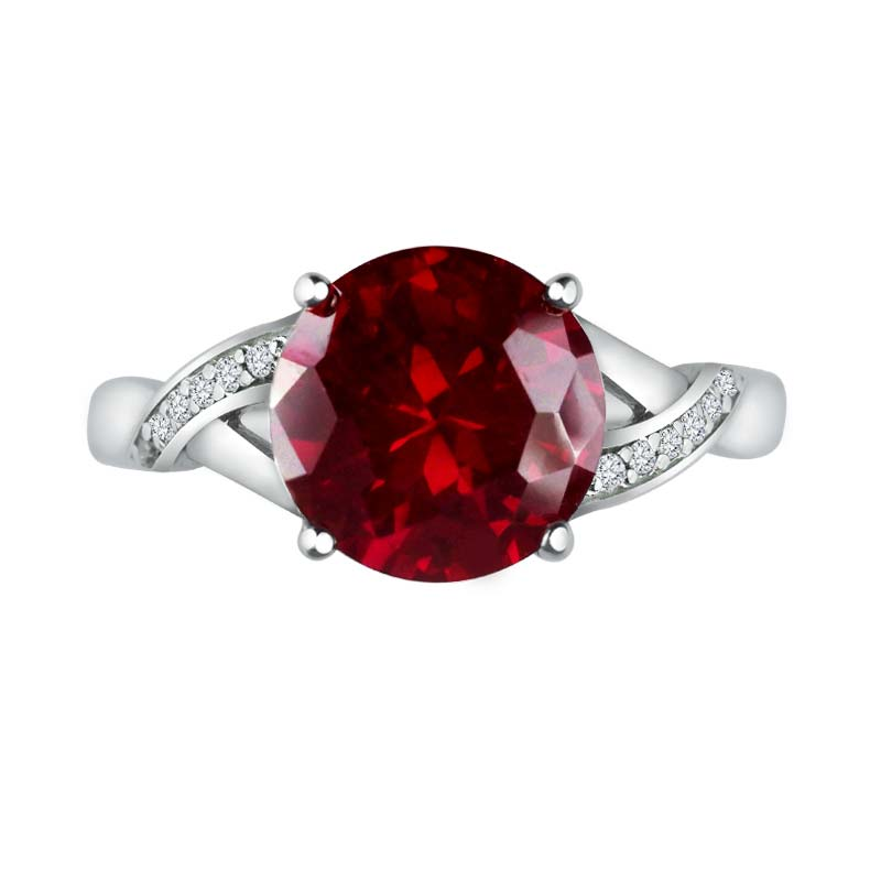 Gorgeous ring with Created Ruby as center stone and Diamonds on side RSR-0334-T