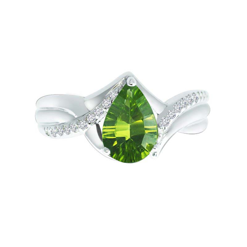 Pear-Shaped Concave Cut Peridot and Created White Sapphire ring