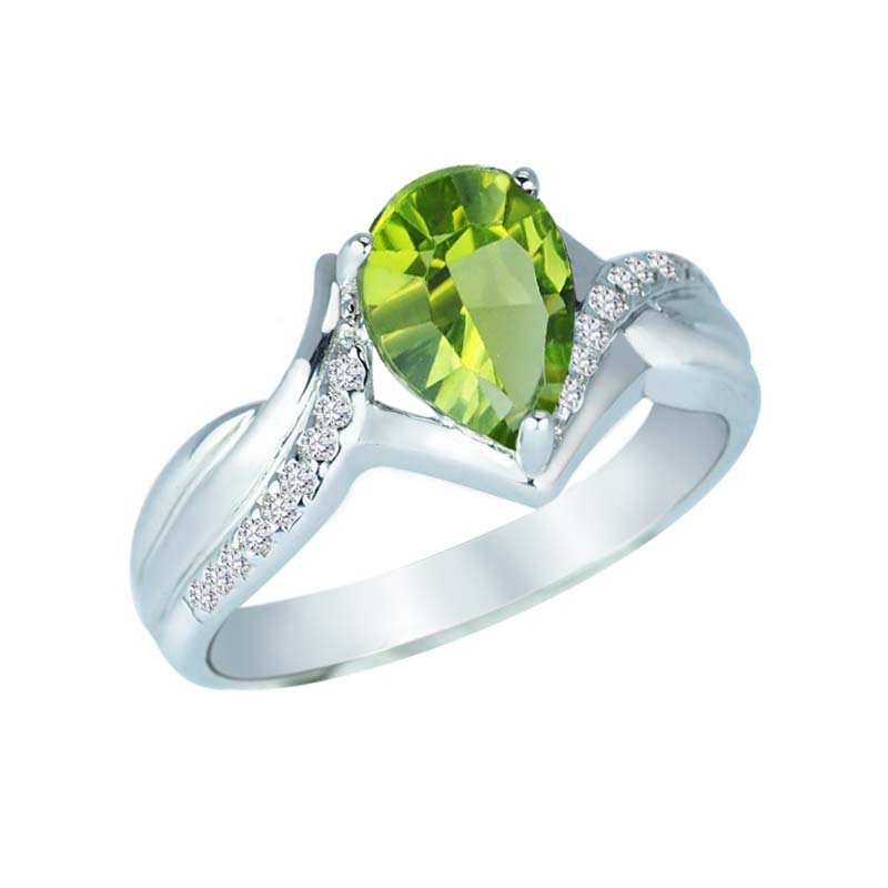 Pear-Shaped Concave Cut Peridot and Created White Sapphire ring RSR-0346-1