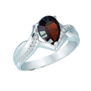 Pear-Shaped Concave Cut Red Garnet and Created White Sapphire ring RSR-0346-2
