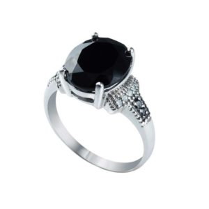 Dramatic looking ring with Black Spinel, Black Onyx and Diamonds
