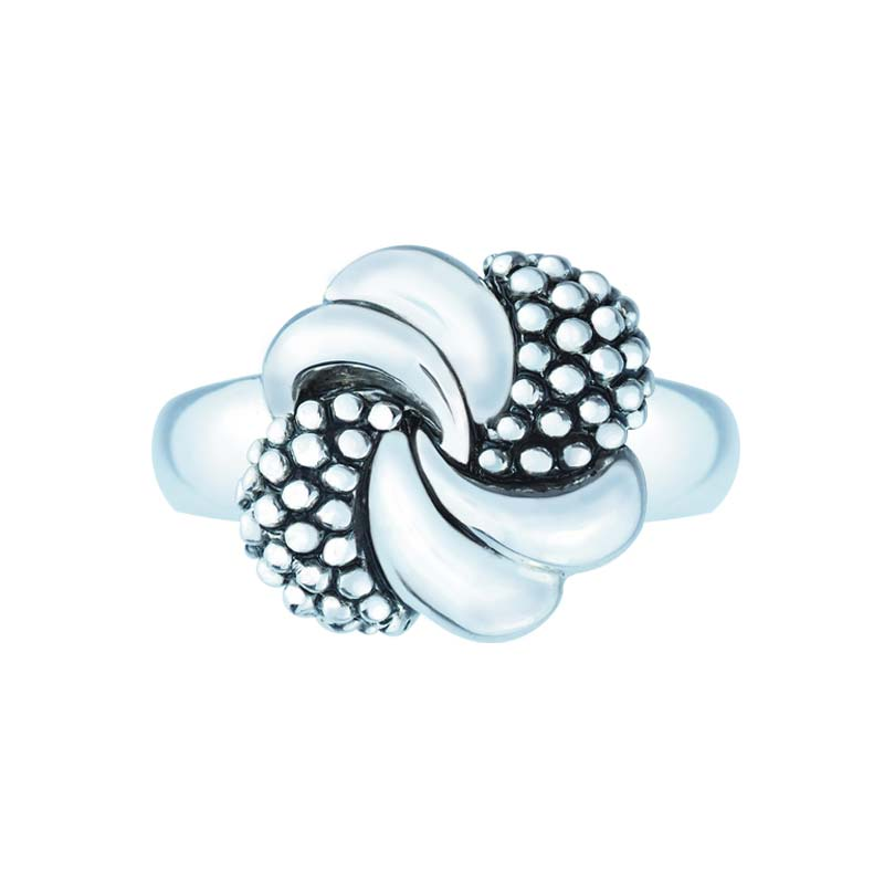 Sleek 925 Sterling Silver knot and beaded ribbons ring