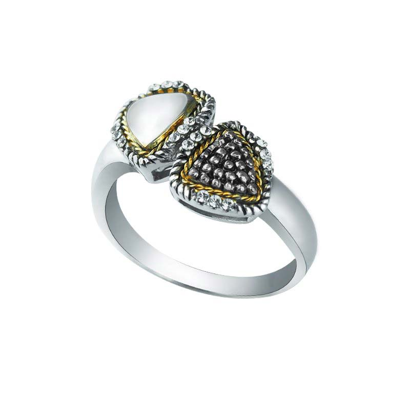 Twin Triangle 14K Gold and 925 Sterling Silver ring with Swarovski Crystals