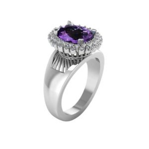 Truly Stunning ring with Dark rich purple Amethyst and White Cubic Zirconia