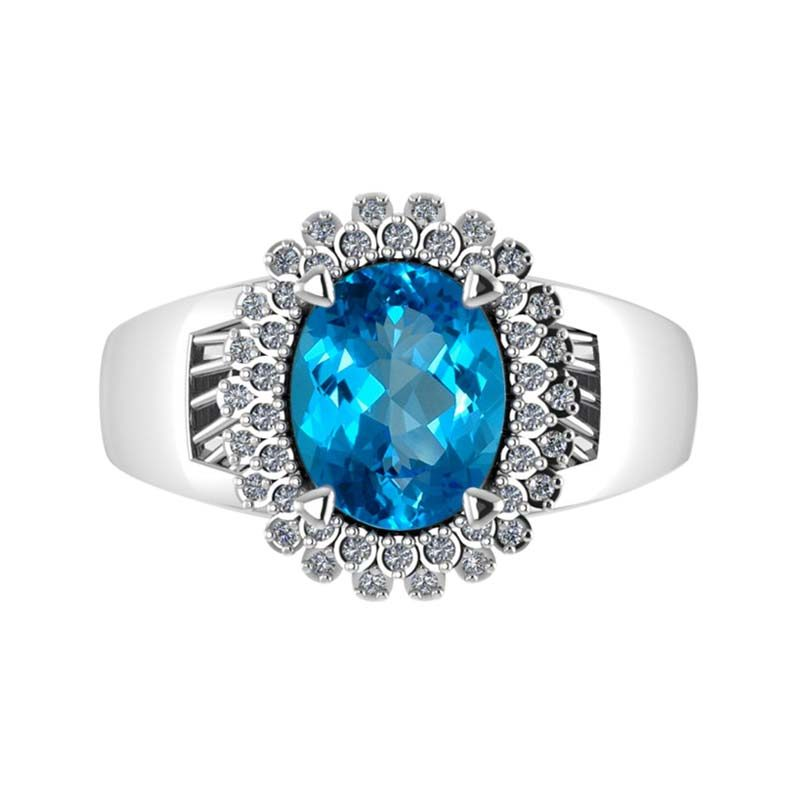 Sparkling gorgeous Swiss Blue Topaz ring with elegant Natural White Topaz rsr 0474
