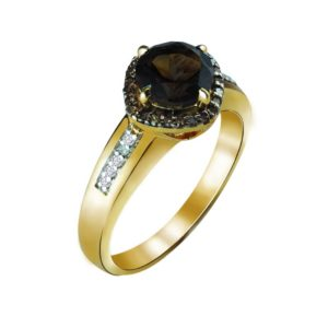 Stylish women's ring plated in Gold with Smoky Quartz and Brown Diamonds