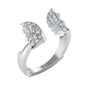 Charming and cute butterfly ring in Sterling set with White Cubic zirconia