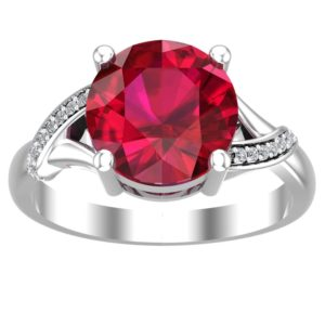 Round Cut Lab Grown 10mm Ruby Ring with Diamonds on Side