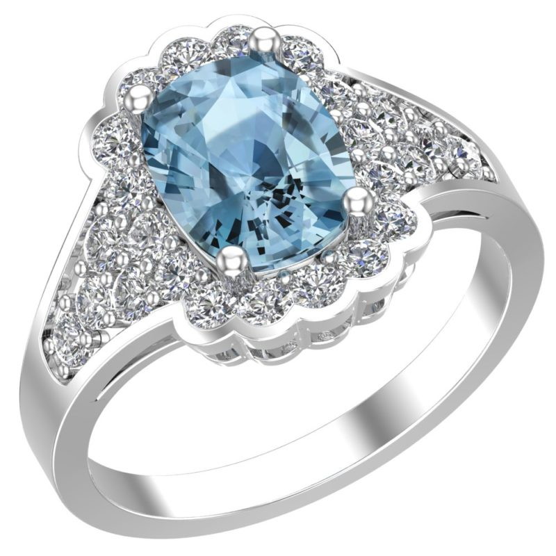 Unique and stylish Sky Blue Topaz ring surrounded by White Topaz