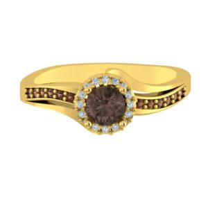 Solid Sterling Silver Gold Plated Ring with Smokey Quartz Center and White and Brown Diamonds
